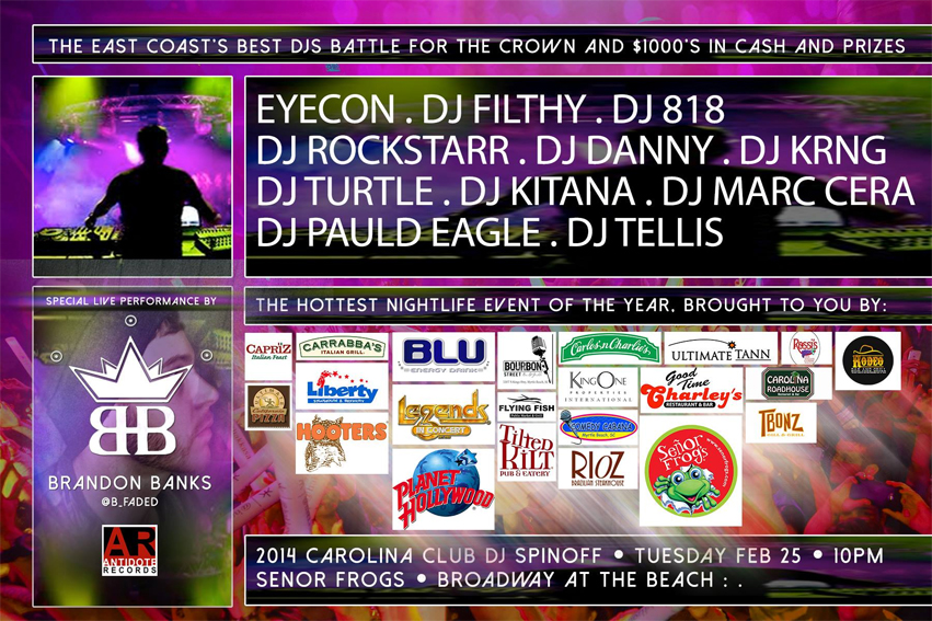 DJ Turtle to spin at the 2014 Carolina Club DJ Spinoff at senor frogs myrtle beach, sc
